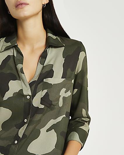Khaki camo print shirt