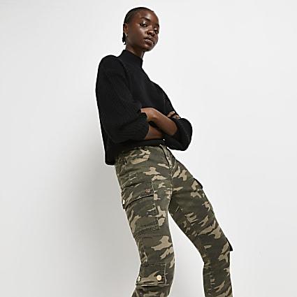 Khaki camo print skinny trousers