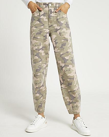 Khaki camo print tapered trousers
