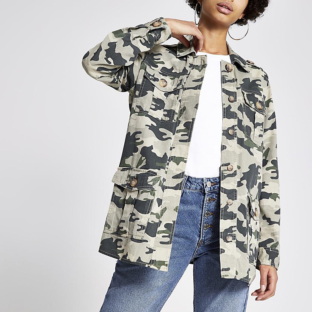 Khaki camoflage print jacket