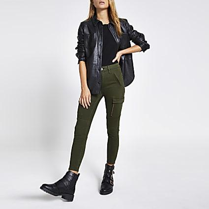 Khaki cargo Amelie super skinny jeans