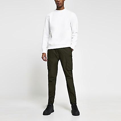 Khaki cargo utility skinny fit trousers