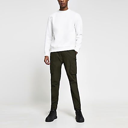 Khaki cargo utility slim fit trousers