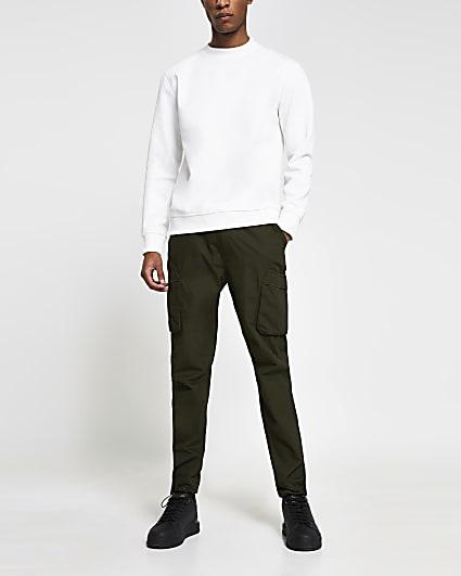 Khaki cargo utility slim fit trousers