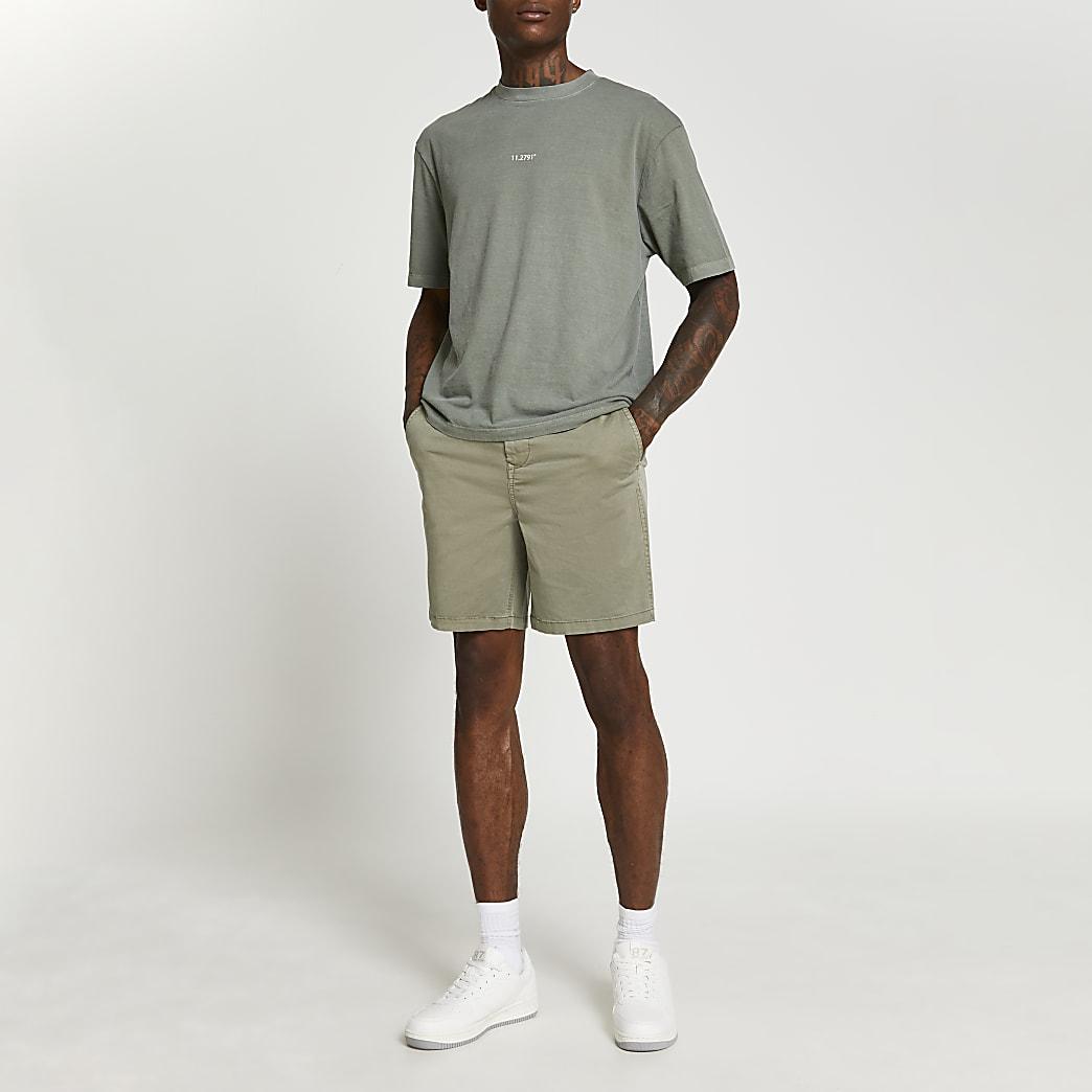 Khaki casual elasticated waist shorts