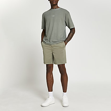 Khaki casual pull on shorts