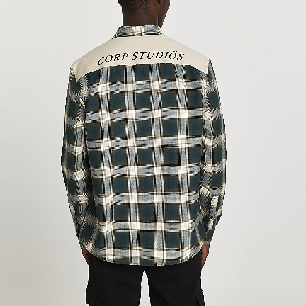 Khaki check 'CORP STUDIOS' shirt