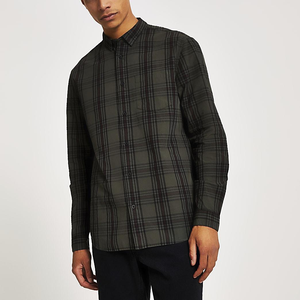 Khaki check long sleeve regular fit shirt