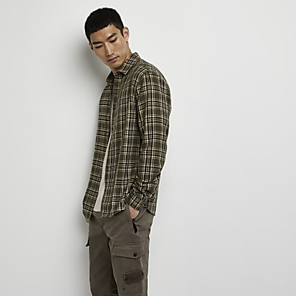 Khaki check long sleeve shirt