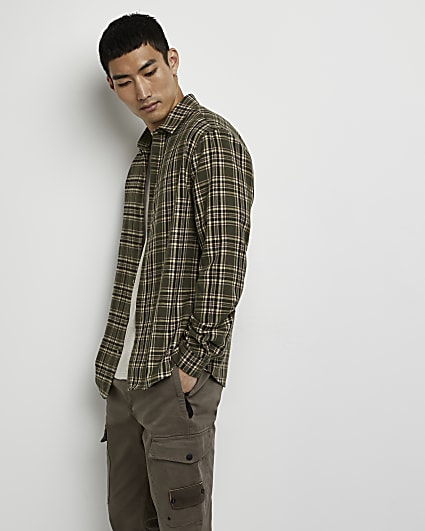 Khaki check long sleeve shirt