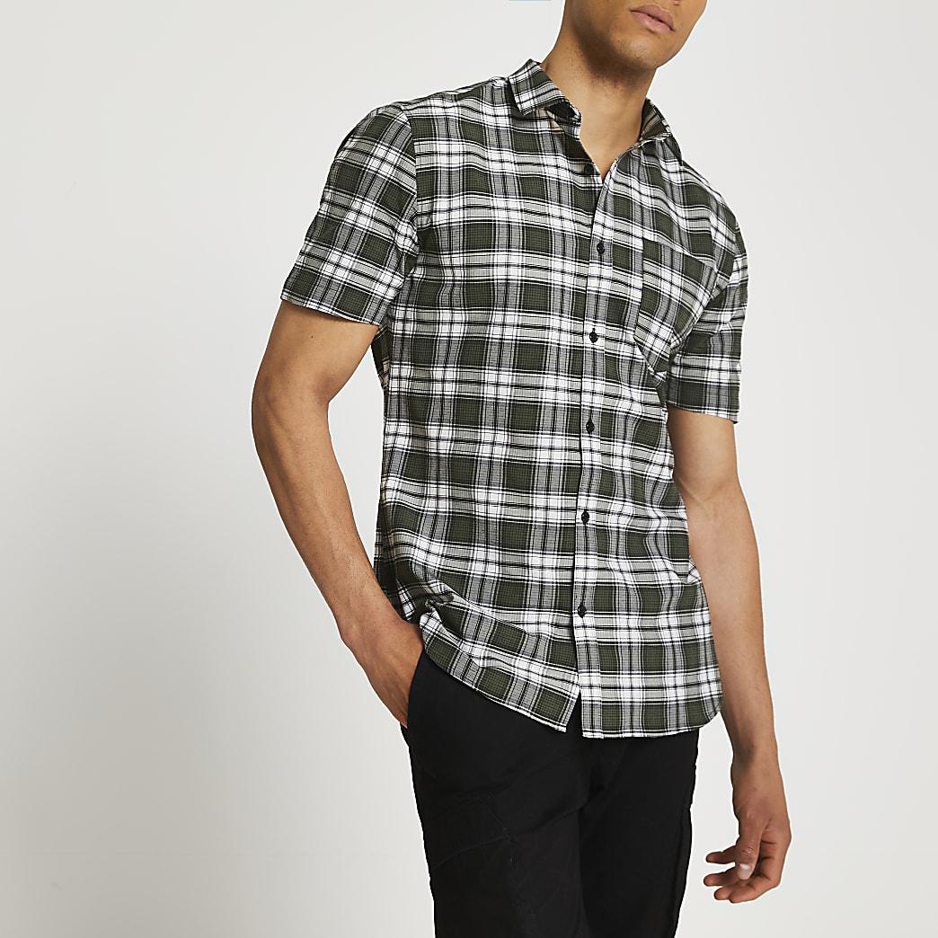 Khaki check slim fit short sleeve shirt
