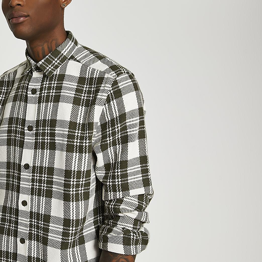 Khaki check twill long sleeve shirt