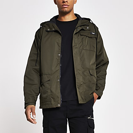 Khaki chest pocket hooded jacket