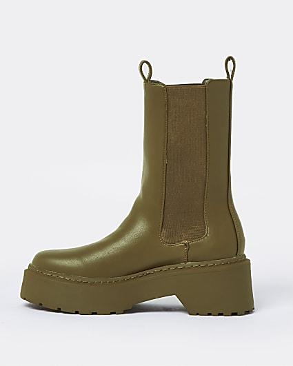 Khaki chunky boots