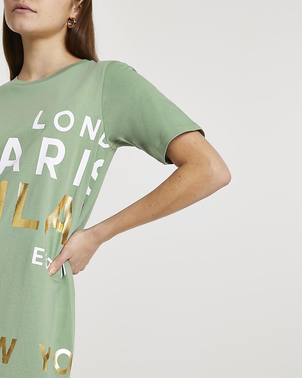 Khaki city print oversized t-shirt
