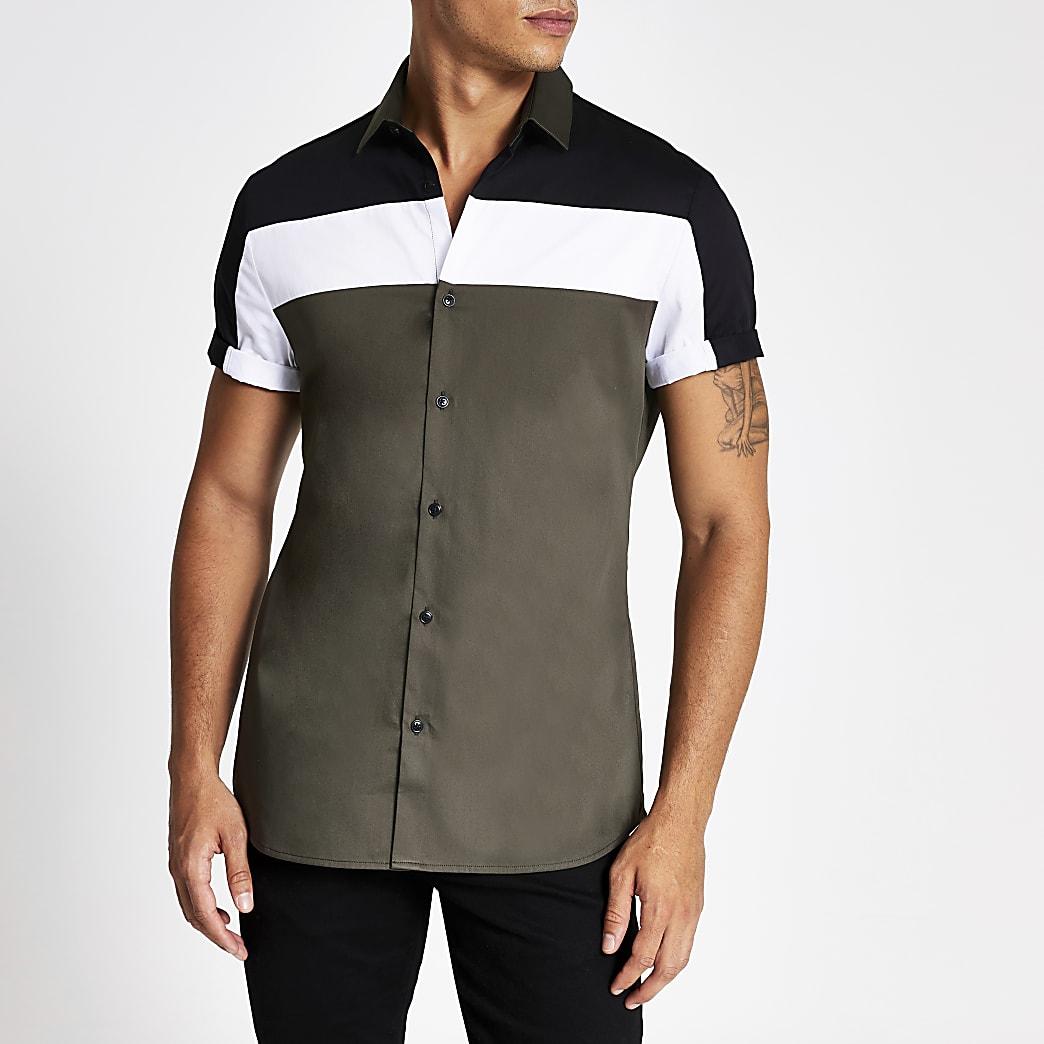 Kaki slim-fit overhemd met kleurvlakken