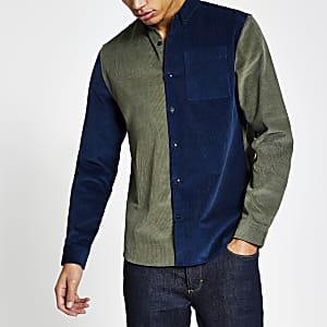 Khaki colour blocked corduroy shirt