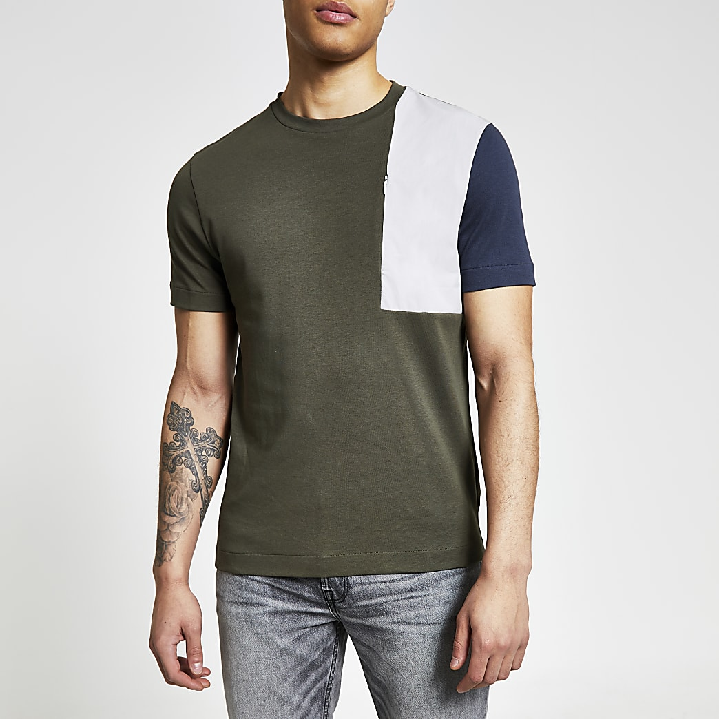 Kaki regular-fit T-shirt met kleurvlakken