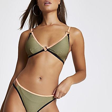 Khaki contrast soft triangle bikini top