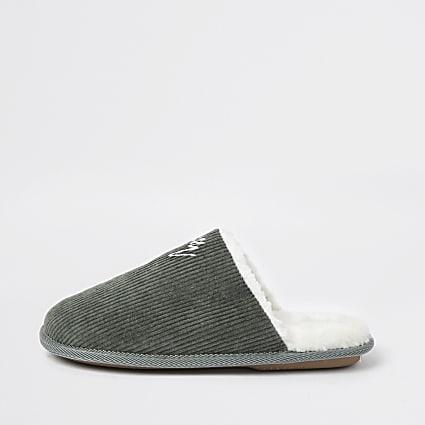 Khaki cord mule slipper