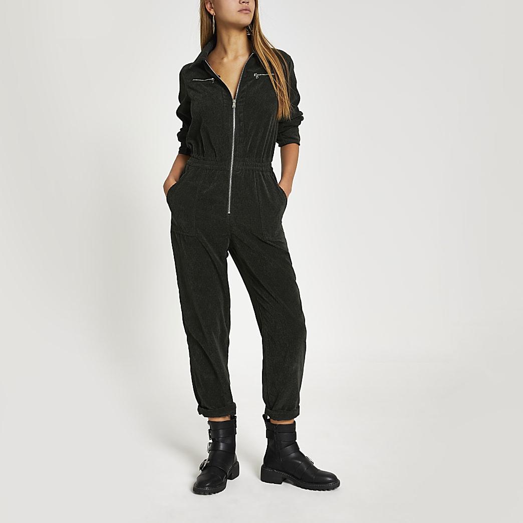 Khaki corduroy utility boiler jumpsuit