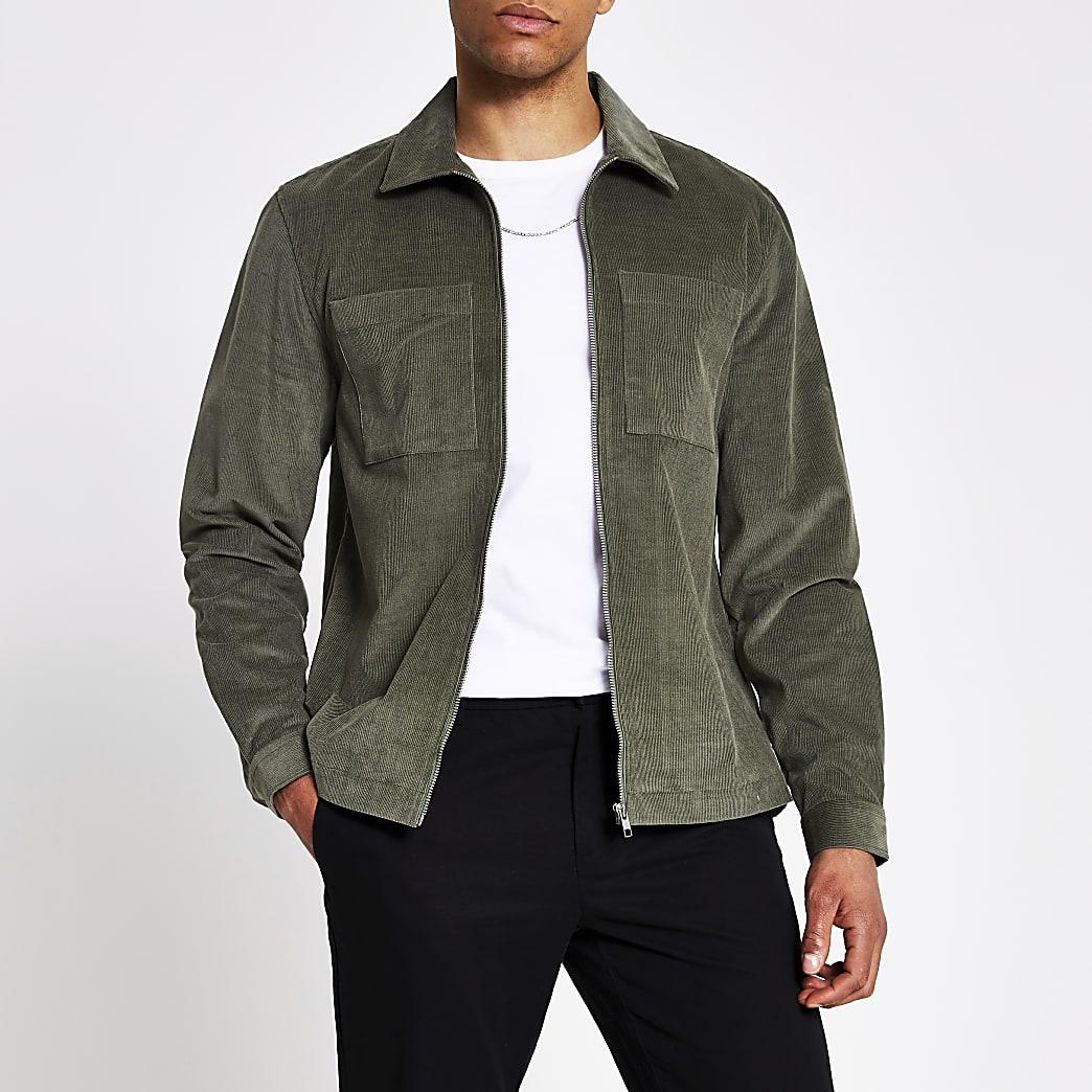 Khaki corduroy zip front overshirt