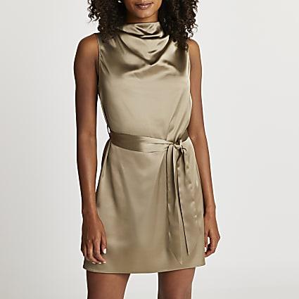 Khaki cowl neck mini dress