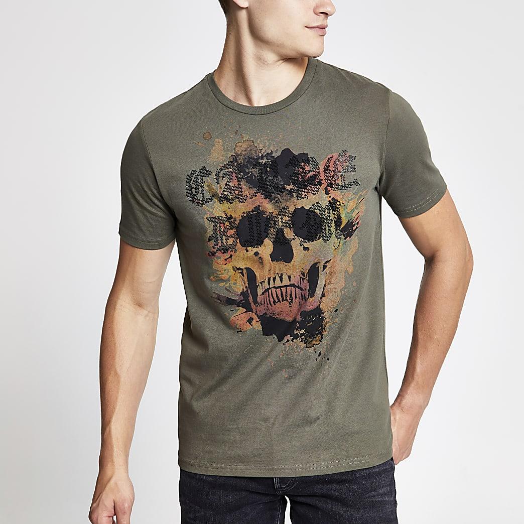 Kaki slim-fit T-shirt met diamanté doodskopprint