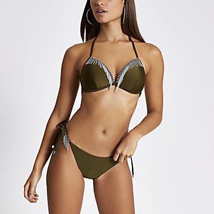 Khaki diamante tassel tie side bikini bottoms