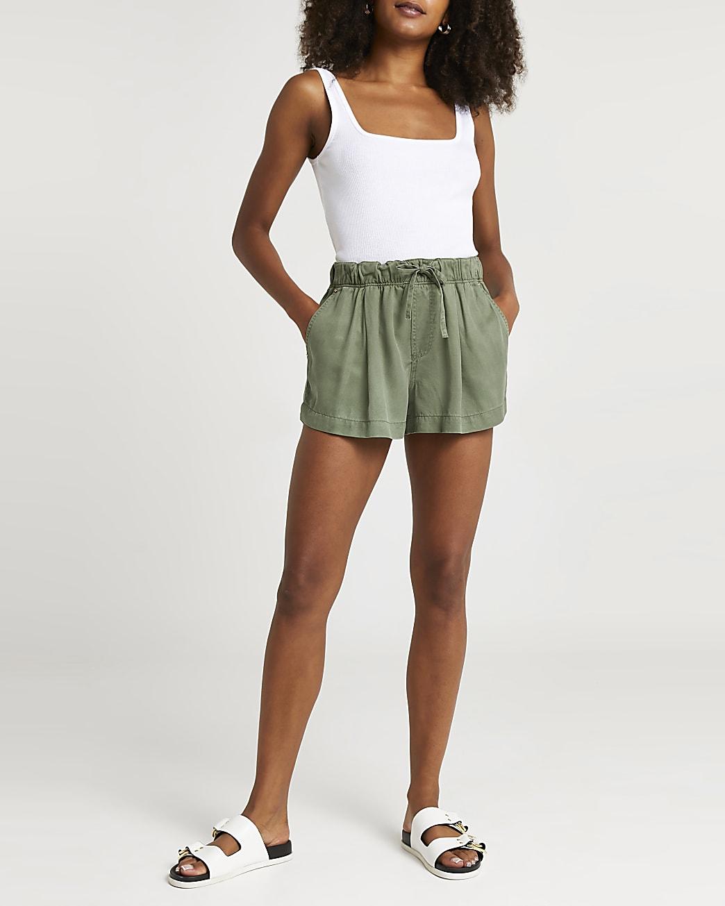 Khaki drawstring high waisted shorts