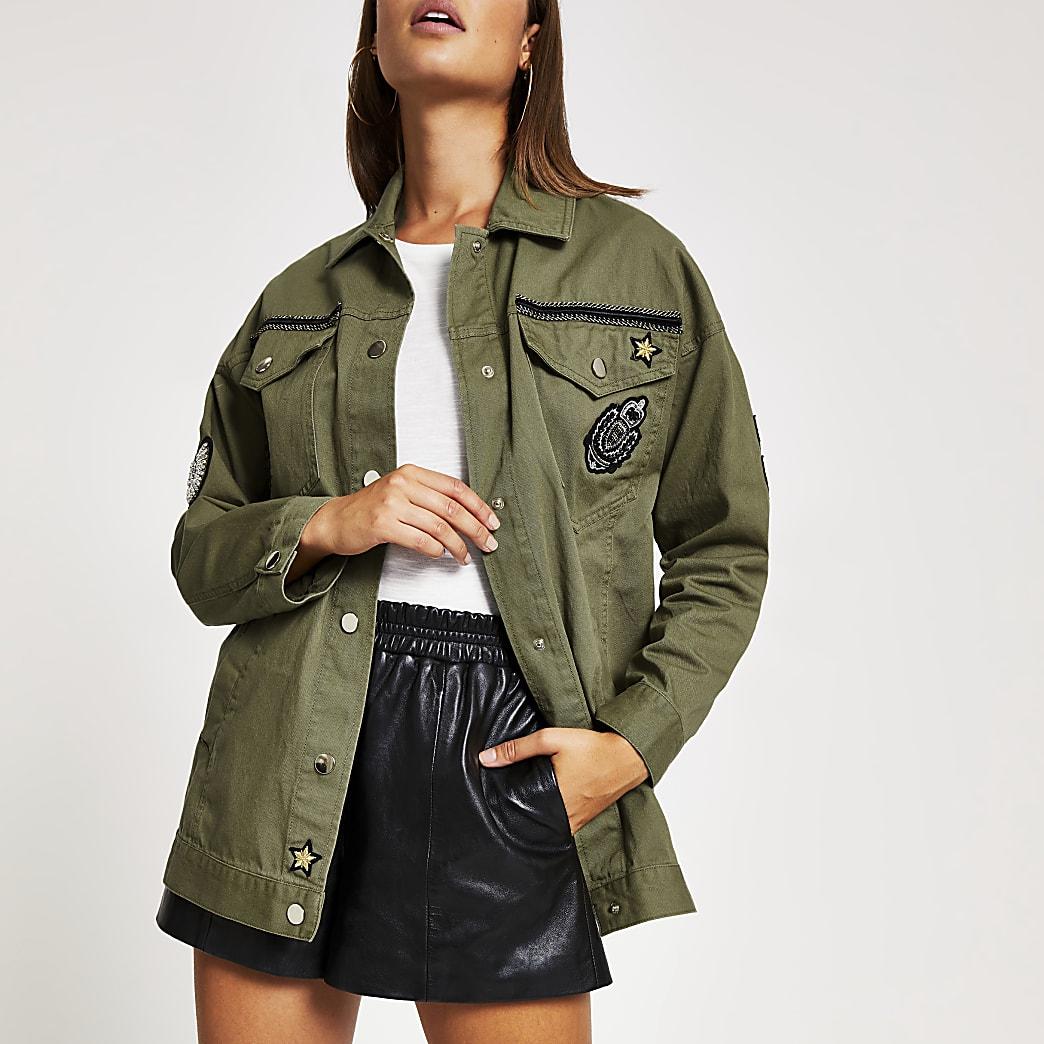 Khaki embellished utility jacket