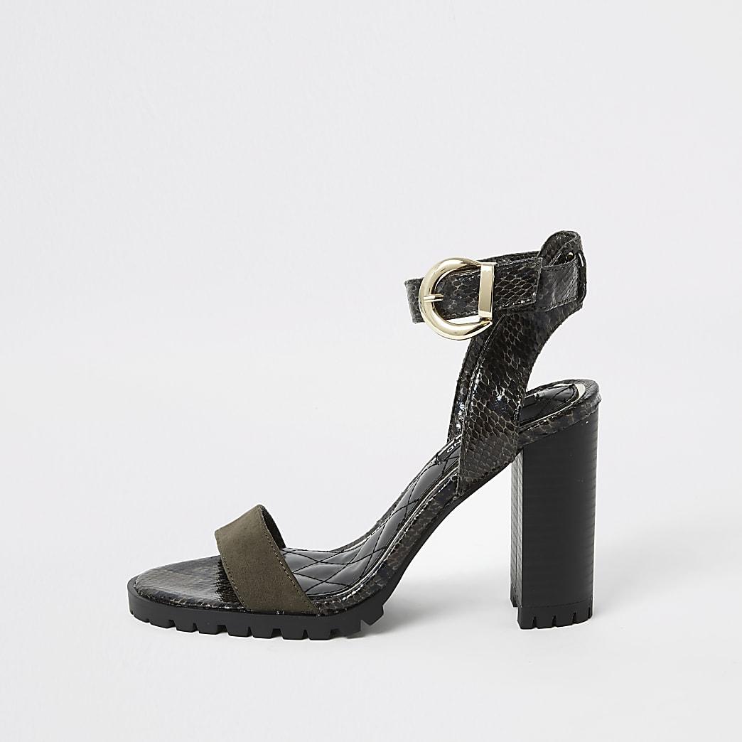 Khaki embossed cleated block heel sandal