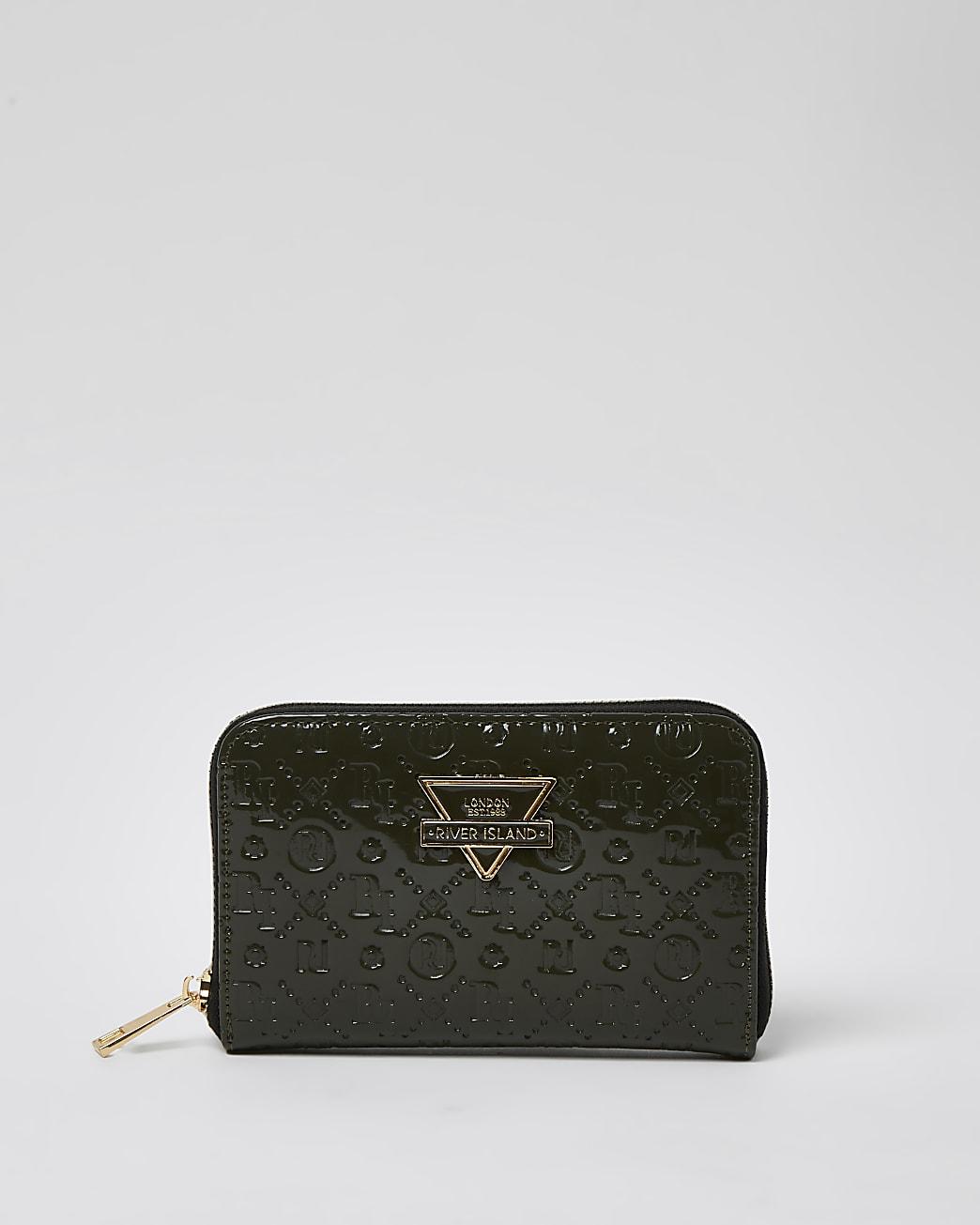 Khaki embossed triangle plated purse