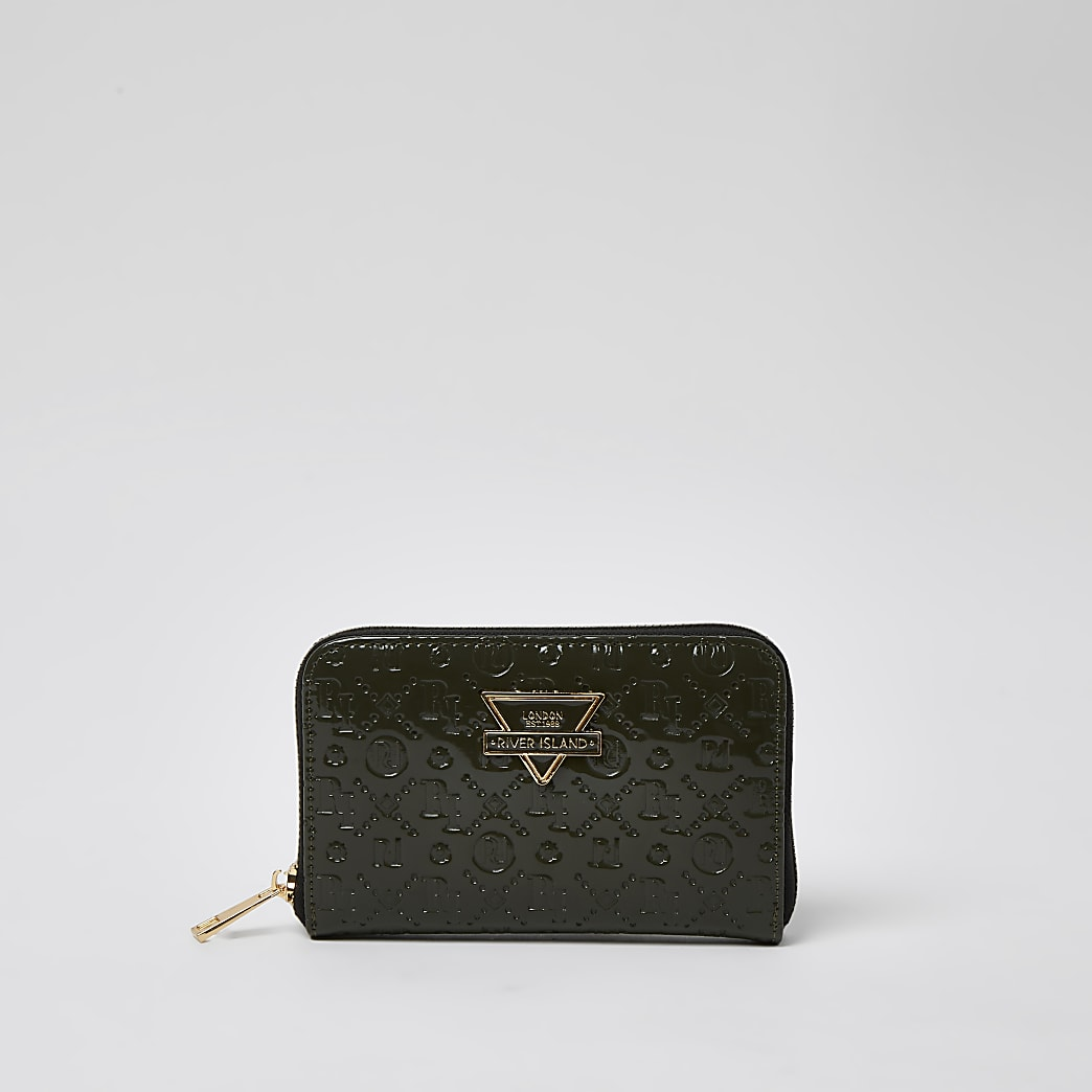 Khaki embossed triangle plated purse