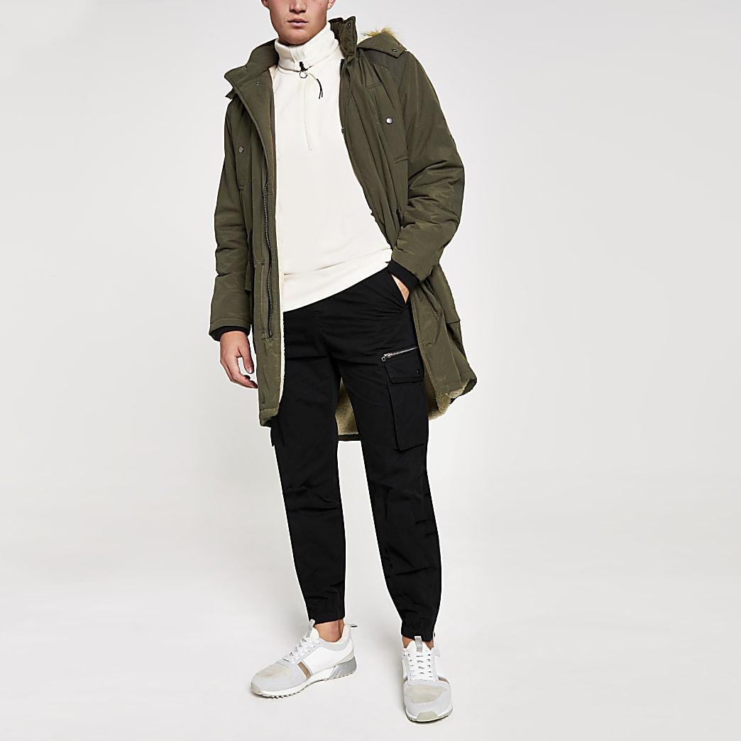 Khaki faux fur hood borg lined parka