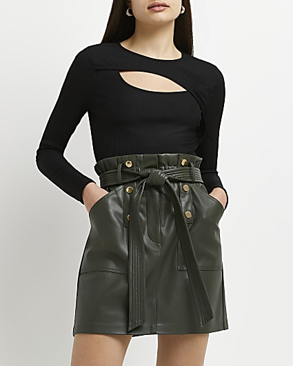 Khaki faux leather belted mini skirt