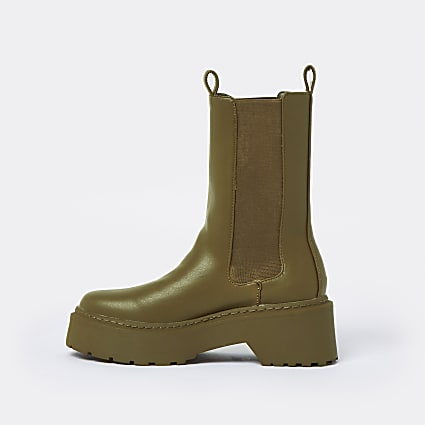 Khaki faux leather patent chunky boots