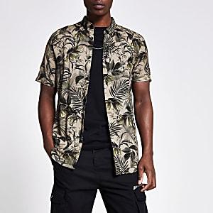 Kaki slim-fit overhemd met bloemenprint
