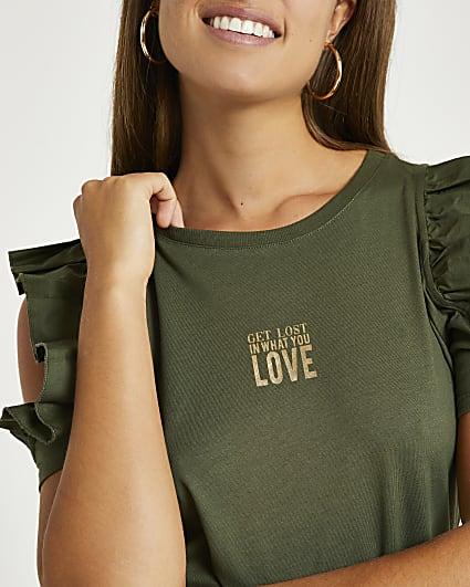 Khaki frill sleeve graphic t-shirt