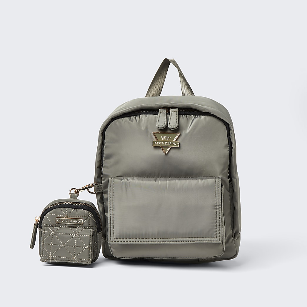 Khaki front flap backpack with pouch