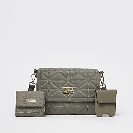 Khaki front flap quilted pouch bag