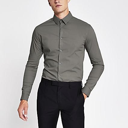 Khaki grandad collar long sleeve shirt