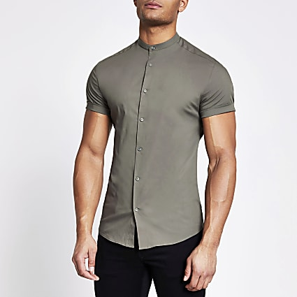 Khaki grandad collar muscle fit shirt