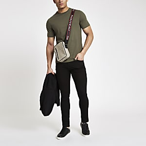 Kakigroen slim-fit T-shirt met ronde hals