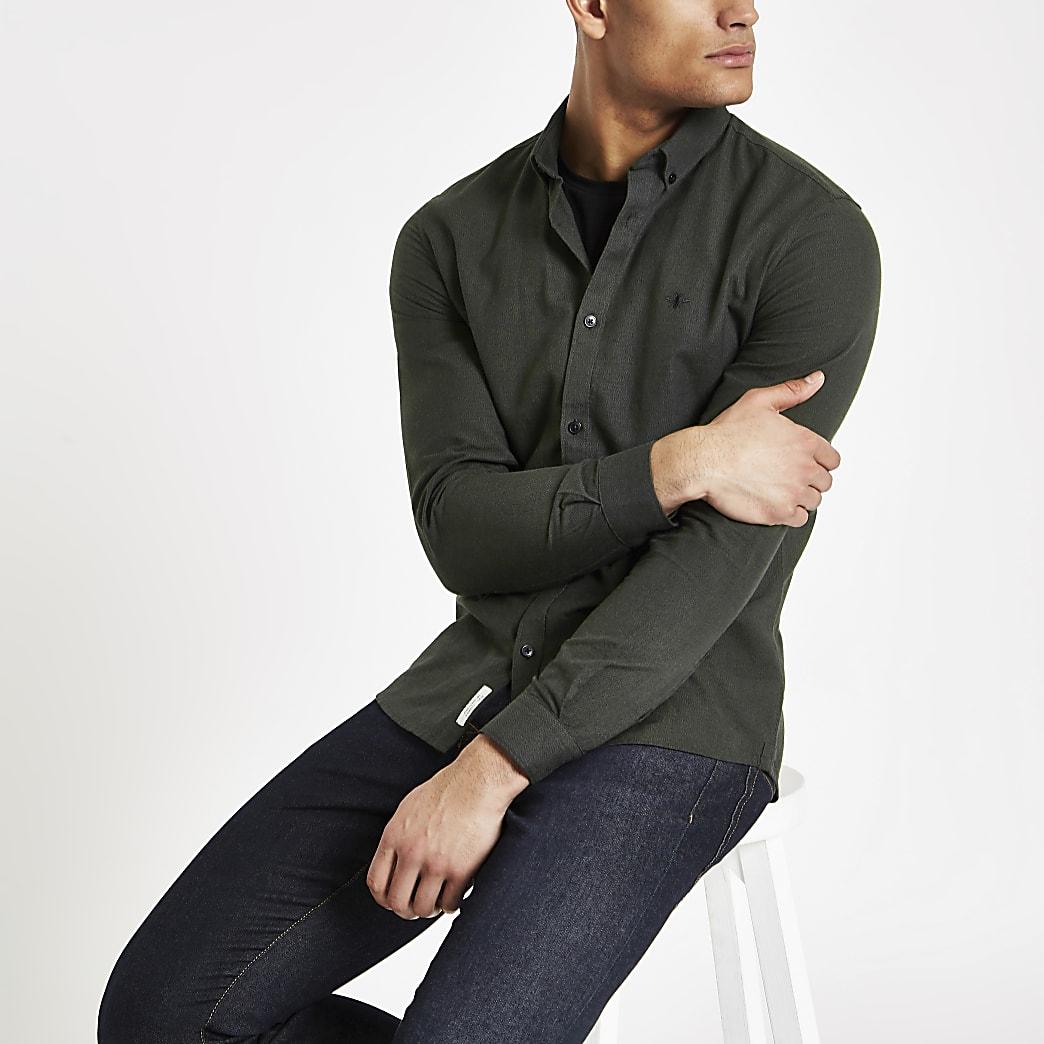 Khaki grindle slim fit Oxford shirt