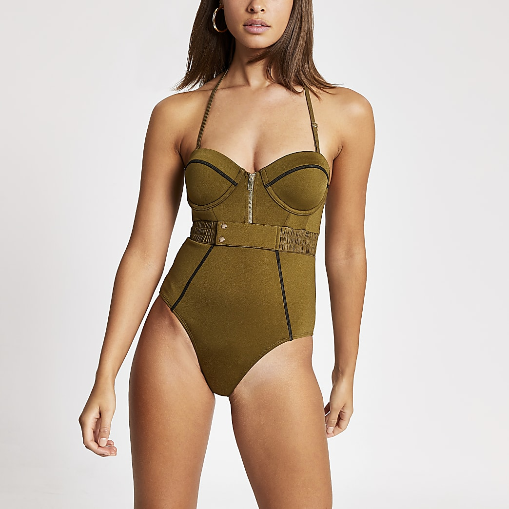 Khaki half zip stitch balconette swimsuit