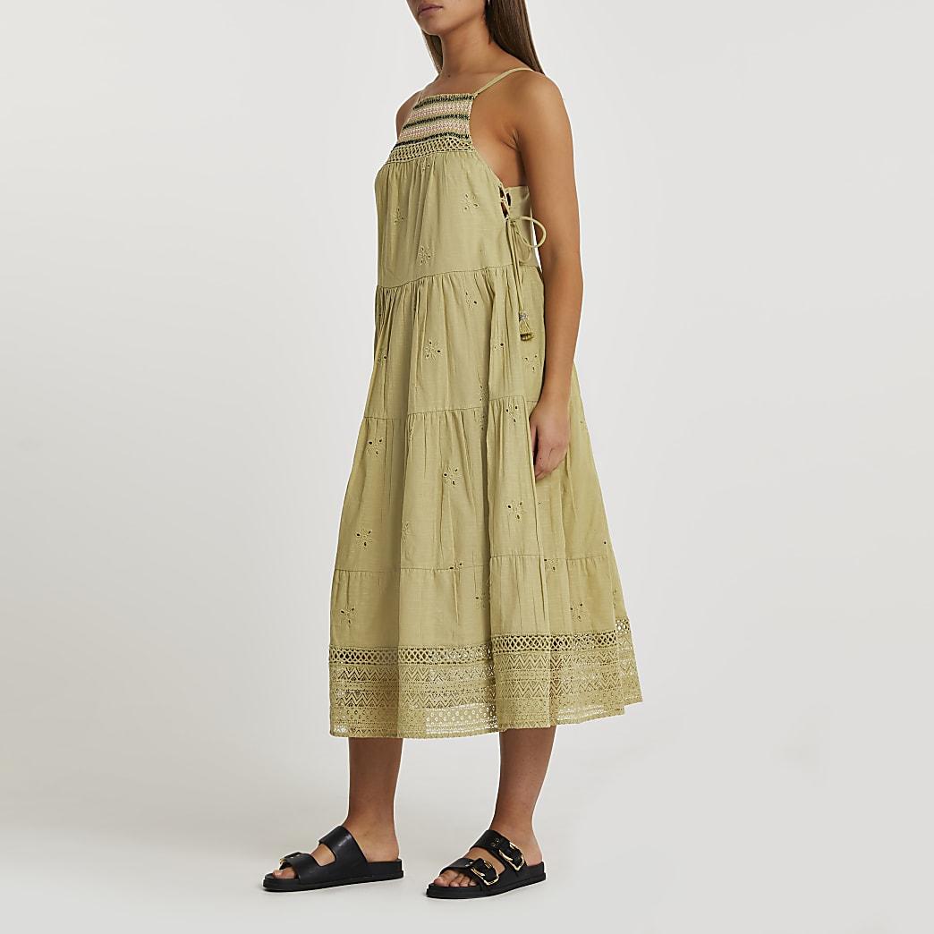 Khaki halter neck embroidered beach dress