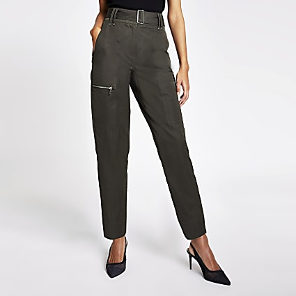 Khaki high rise belted cargo trousers