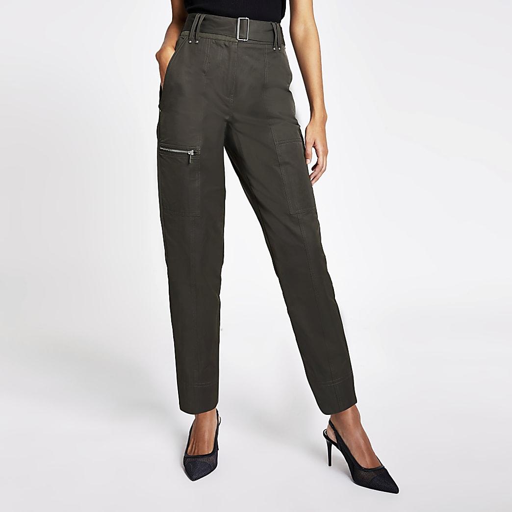 Pantalon cargo taille-haute ceinturé kaki