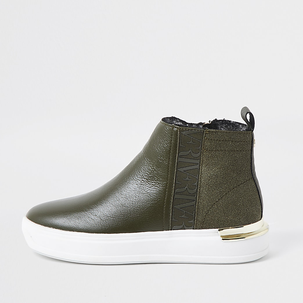 Khaki high top RI trainers